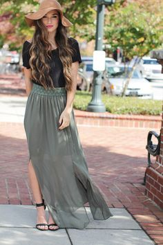 We love the olive green color of this flowy sheer maxi skirt! Autumn Breeze Maxi Skirt
