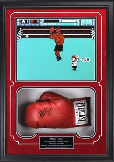 b2c7fd119be Mike Tyson Signed Red Everlast Boxing Glove With Punch Out Image Shadow Box