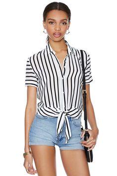 Stripe It Down Silk Blouse | Shop Shirts + Blouses at Nasty Gal