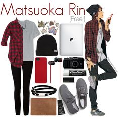 Casual cosplay of Rin Matsuoka (from Free! Iwatobi Swim Club or Eternal Summer anime series)-- character inspired outfit