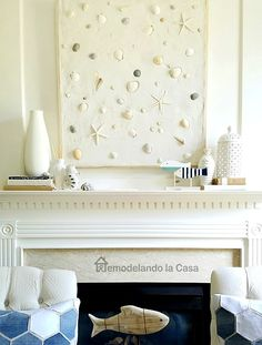 DIY Wall Decor with Grout and Shells for above the Fireplace... http://www.completely-coastal.com/2017/01/shells-embedded-in-grout-wall-art.html