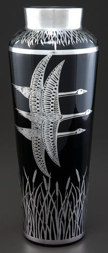 A Rockwell Glass Vase With Silver Overlay - Rockwell Silver Co., Meriden, Connecticut, circa 1930.