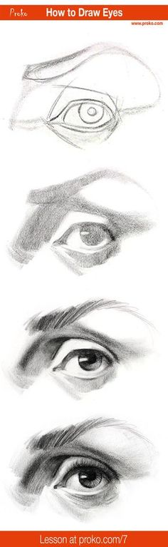 Draw realistic eyes with this step-by-step instruction. Full drawing lesson at proko.com/7