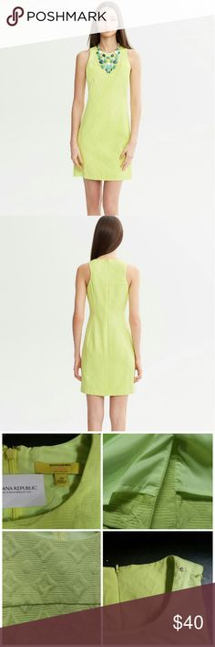 🔥🔥Extra 25% off Jacquard sheath. TODAY ONLY!🔥🔥 The mist coveted piece in the Milly collaboration with BR. A classic silhouette modernized  with the alight cutaway of the shoulders, the vibrant chartreuse color, and the geometric jacquard. Never worn, fully-lined, bra-strap keeper. Very flattering on. Banana Republic Milly Collection Dresses Midi
