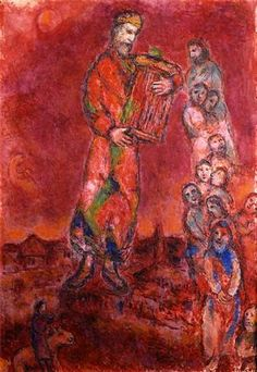 Marc Chagall Le Roi David sur fond rouge 1975