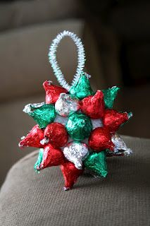 round foam ball , probably about 30-60 hershy kiss'es (depending on how many your going to make.) pipe cleaners , and a hot glue gun !!! Thats all you need to make a hershey Christmas ordanment !