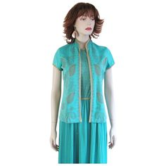 Dress Alfred Shaheen Vintage 1960's Teal Green Gold Bolero Was $58 - SALE PRICE $36  http://www.rubylane.com/item/676693-CL24/Dress-Alfred-Shaheen-Vintage-1960s