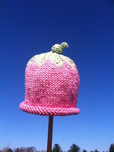 Little Baby or Girl Hand Knit Strawberry Hat by smittenwithknitn, $19.00