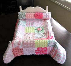 Heirloom Quality Vintage Chenille American Girl DOLL Quilt and Pillow - Custom Order Quilt Bedding, Linen Bedding, Bed Linen, Doll Bedding, Little Girl Gifts, Doll Beds, Doll Quilt, Sewing Dolls, Upcycled Vintage