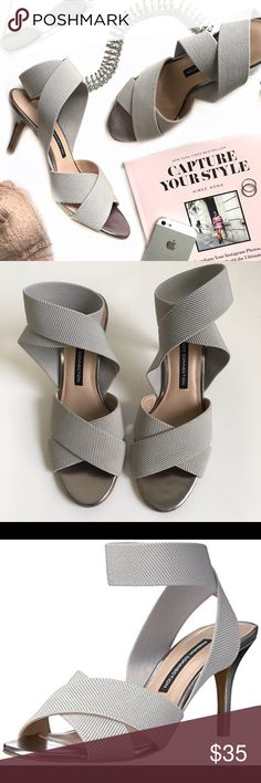 """NWOT French Connection Luana Crisscross Sandal Update your look with stretchy straps that hug your feet in crisscross fashion for alluring style. Elastic upper, manmade sole. Round open-toe slip on crisscross ankle strap sandals. 3"""" heel. Third and fourth picture are stock photos. French Connection Shoes Sandals"""