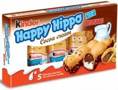 Kinder Happy Hippo Cocoa Cream Pack of 3 Crispy wafer cookies with cocoa cream filling. Pack of 3 Each pack contains 5 delicius individualy wprapped hippo shaped biscuits. Imported from Europe. Candy Recipes, Gourmet Recipes, Snack Recipes, Nutella, Chocolate Hazelnut, Hot Chocolate, Chocolates, Cocoa, Chibi Food