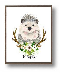 Cute baby hedgehog, cute animals, baby animals, nursery art, nursery print, woodland nursery, woodland baby shower, hedgehog illustration, floral antlers, antlers, flower nursery, nursery ideas, baby girl nursery,