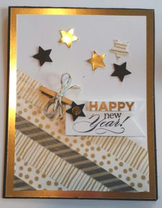 Stampin' Up Happy New Year card. Delightful dozen stamp set from papermadeprettier (Kay Cogbill) #stampinup, #newyearscard #handmadecard  TUTORIAL: http://www.papermadeprettier.blogspot.com/2014/01/happy-new-year-from-papermadeprettier.html