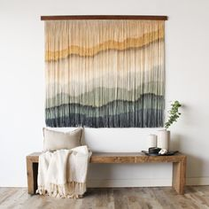 Tapestry from Modernyarn by Lauren Wallace Homemade Wall Decorations, Diy Wall Decor, Diy Bedroom Decor, Diy Home Decor, Room Decorations, Yarn Wall Art, Macrame Wall Hanging Diy, Diy Home Crafts, Room Crafts