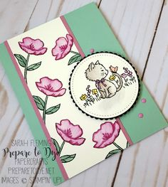 Stampin' Up! Pretty Kitty and Birthday Blooms handmade card with watercolor pencils and paper piecing - Sarah Fleming - Prepare to Dye Papercrafts - Kylie Bertucci's International Blog Highlights