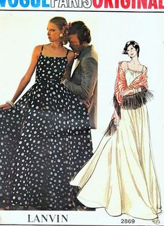 1970s Beautiful Lanvin Evening Dress and Shawl Pattern Vogue Paris Original 2869 Fitted Bodice Low Back Full Skirt Gown Bust 32.5 Vintage Sewing Pattern