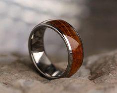 Whiskey Barrel Oak Wood Ring In Titanium, Mens Titanium Wedding Band, Wood Jewelry, Signature Style