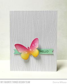 Whimsical Woodgrain Background, Essential Sentiments Stamp Set, Flutter of Butterflies - Solid Die-namics - Donna Mikasa #mftstamps