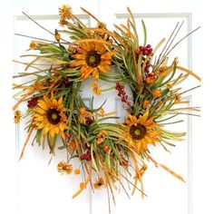 Found it at Wayfair - Mills Floral Sunflower and Fall Grass Wreath