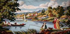 Italian lake vintage hand stitched needlepoint tapestry ideal for wall/cushion/pillow/bag/stool/chair cover