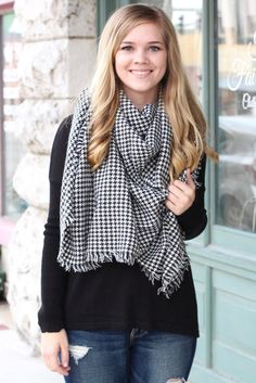 Houndstooth print blanket scarf. Black and white in color. Large, soft, and cozy.