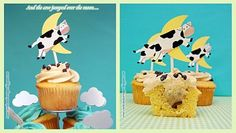 """The cow jumped over the moon cupcake toppers -- """"Shake a Tail Feather with Mother Goose"""" at the Center for Puppetry Arts, Atlanta, GA. Aug 19 - Sept 21, 2014 www.puppet.org"""