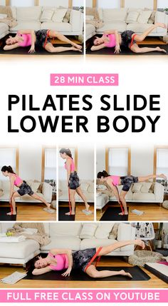 Target legs and glutes using a resistance band and sliders. Pilates Slide workouts mix traditional mat Pilates with slider sequences. Low impact but challenging! Full class up on YouTube. #pilates #pilateslegs #workout Slide Workout, Quiet Workout, Hiit Workout Videos, Workout Classes, Workout Mix, Band Workouts, Leg Day Workouts, Pilates Workout, Resistance Band Glutes