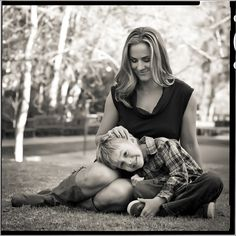 mother and son, sweet black and white portrait in the park