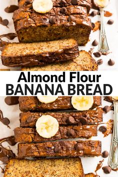 Easy Almond Flour Banana Bread made in one bowl and bursting with banana flavor! Tender, naturally sweetened, and delicious with chocolate chips or plain. Banana Bread Almond Flour, Protein Banana Bread, Super Moist Banana Bread, Zucchini Banana Bread, Baking With Almond Flour, Gluten Free Banana Bread, Almond Flour Recipes, Easy Banana Bread, Desserts With Chocolate Chips
