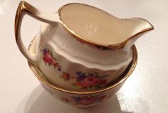 Swinnertons Luxor Vellum ivory sugar bowl and creamer