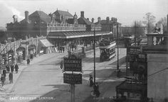 In 1898 East Croydon & New Croydon stations merged into a single station but with 2 booths. This is a view of East Croydon Railway Station c1901-1910.
