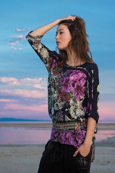 Johnny Was Collection Fall 2015 Lookbook featuring the FLOWER DOLMAN BLOUSE