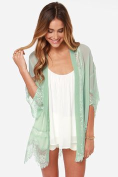 Rambling Rose Mint Green Lace Kimono Top at LuLus.com. IN LOVE