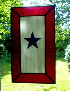 Stained Glass Service Flag or Blue Star Banner.  via Etsy.