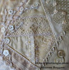 crazy quilt lace block 23 hand embroidered
