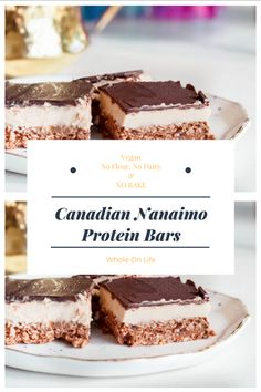 Nanaimo Protein Bars (Vegan: No Bake, No Flour and of course No Dairy)! 🤗  Easy to make and simply delicious!