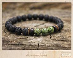 Men's Bracelet Mala // Lava Stone & Black Moonstone // Healing Yoga Mala…