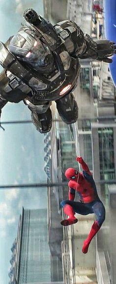 Interação entre O Máquina de Combate & O Homem Aranha.