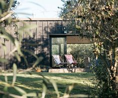 High-quality materials shine out in simple furnishings that have a penchant for the raw and natural in this Hawke's Bay Airbnb amidst an olive grove. Little Cottages, Porch Swing, Outdoor Furniture, Outdoor Decor, House Tours, Sweet Home, House Design, Small Houses, Nature