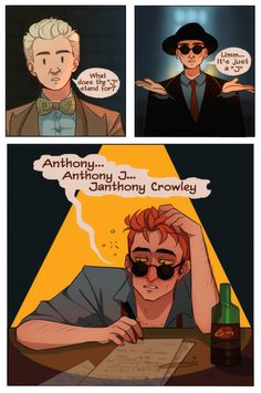 In which a rather drunk Crowley realizes his name doesn't make sense Disney Channel, Cartoon Network, Good Omens Book, Best Beans, Michael Sheen, Terry Pratchett, Angels And Demons, Crowley, Best Couple