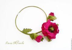 Купить Цветочное колье Малиновые маки цветы из кожи фуксия - фуксия, мак из кожи, розовый