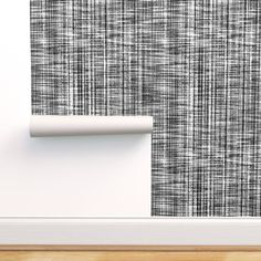 Black and White ~ Linen Luxe custom wallpaper by peacoquettedesigns for sale on Spoonflower Custom Wallpaper, Wallpaper Roll, Designer Wallpaper, Pattern Wallpaper, Half Bathroom Wallpaper, Mold And Mildew, White Patterns, White Walls, Surface Design