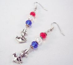 Nautical Anchor Charm Crystal Earrings Red by TheButterfliesGarden