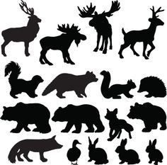 Silhouettes of woodland animals