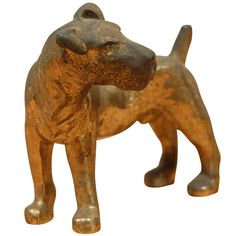 Vintage Brass Terrier Figure  USA  1930's  Beautiful little brass terrier dog figure. Wonderful patina.