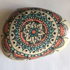 Hand drawn mandala on Lake Michigan tumbled smooth stone