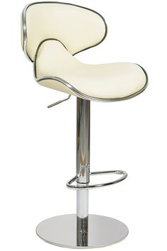 The Carcaso kitchen stool features a padded faux leather seat with a stunning silver trim around the edges of the seat to give the stool a really classy look. Padded Bar Stools, Breakfast Bar Stools, Diner Ideas, Kitchen Stools, How To Look Classy, Foot Rest, Chrome Finish, Cream, Modern