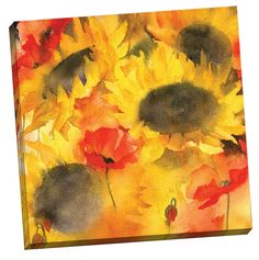 Sunflowers and Poppies Lores by Rachel McNaughton Painting Print on Wrapped Canvas