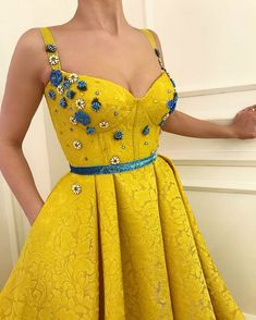 28 Prom Dresses That Will Make You The Prom Queen - spaghetti straps sweetheart neckline mustard dress , Prom dress #promdress #bluedress