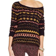 """Free People Sweater Free People Through the Storm Sweater. A gently scooped neckline and a drapey silhouette define a cozy pullover sweater knit in a wintry Fair Isle design. 22"""" front length, 25"""" back length, slips on over head, scooped neck, long sleeves, 41% acrylic, 24% cotton, 23% wool, 8% nylon, 2% polyester, 1% alpaca, and 1% spandex. True to size. No trades! Bundle & save! Free People Sweaters"""